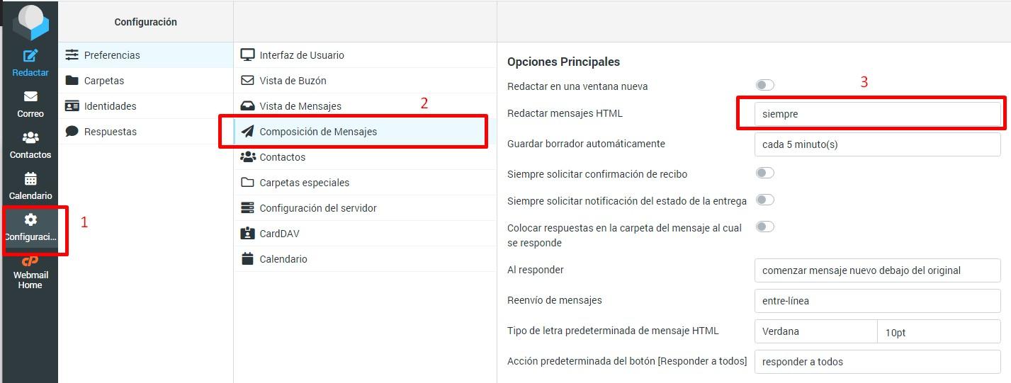 activar editor visual a correo webmail
