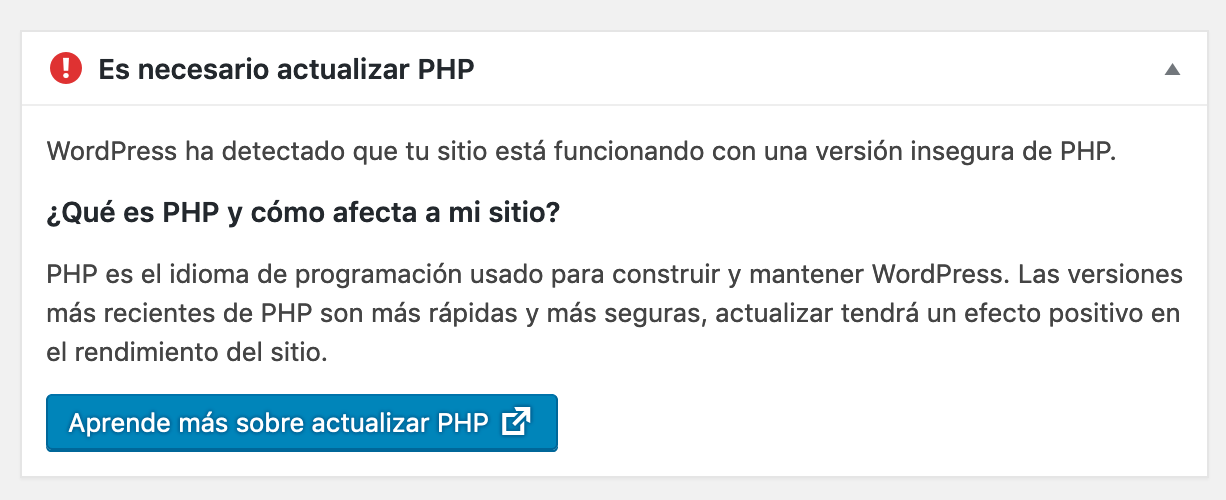actualizar php wordpress