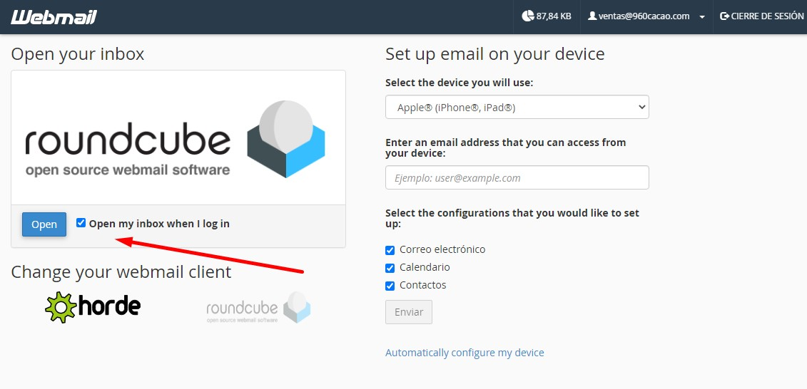 configurando webmail con roundcube