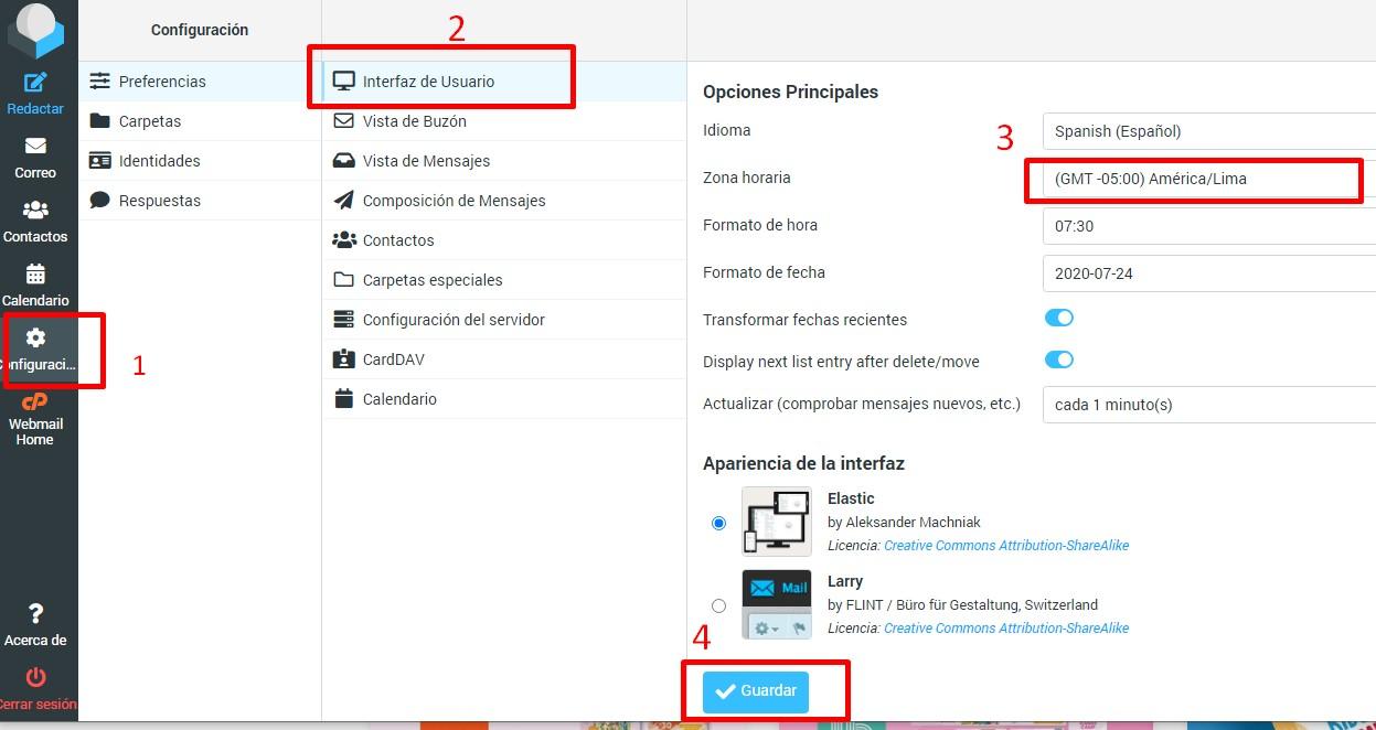 configurar zona horaria correo electronico webmail